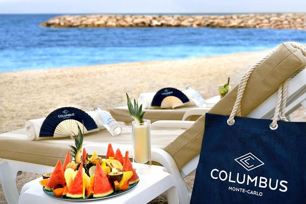 Sunloungers on beach in Cap D'Ail