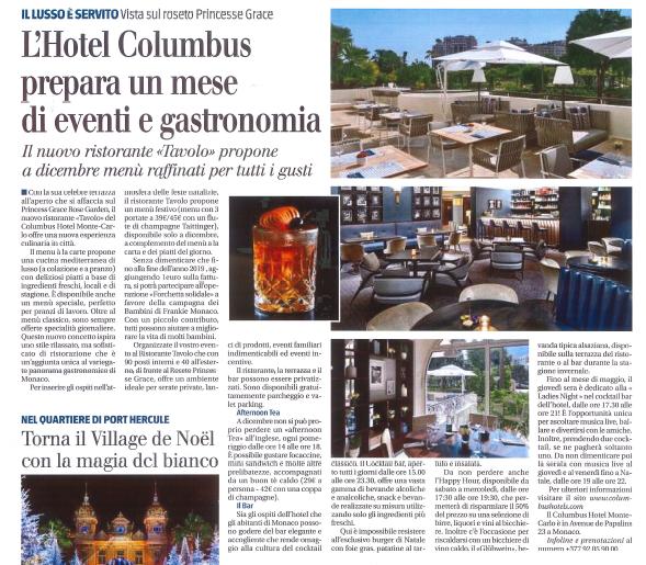Giornale del Piemonte et della Liguria - natale al Columbus Monte-Carlo